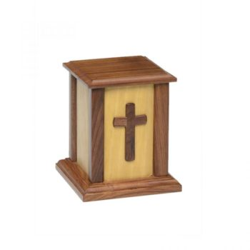 Small Rustic Wooden Urn with Cross – NM-CC-2 - Small – 50 cu in