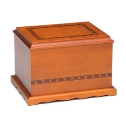Solid Birch Wood Urn with Hand-Painted Inlay Design – A073 – 200 cu. in.