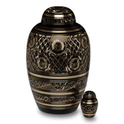 Solid Brass Urn with Hand-Cut Black & Gold Design – Adult – B-1509-A