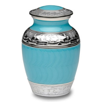 Turquoise Enamel and Silver Color Cremation Urn – Small – B-1528-S-TURQ