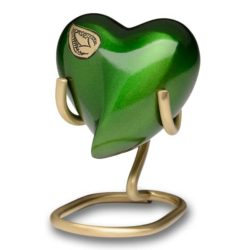 Vibrant Green Brass Cremation Urn – Heart Keepsake – B-1675-H-G