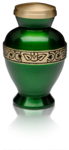 Vibrant Green Brass Cremation Urn – Keepsake – B-1675-K-NB
