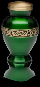 Vibrant Green Brass Cremation Urn – Keepsake – B-1675-K-NB