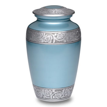 Affordable Alloy Cremation Urn Blue Flower Band – Adult – A-3244-A