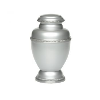 Affordable Alloy Cremation Urn Silver Color with Rope Edging – A-2185-A
