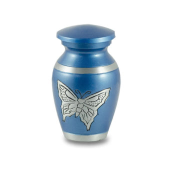 Affordable Alloy Cremation Urn in Beautiful Blue with Butterfly – Keepsake – A-2406-K-NB