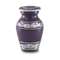 Affordable Alloy Cremation Urn in Beautiful Purple – Keepsake – A-1489-K-PUR-NB