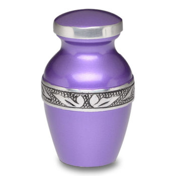 Affordable Alloy Cremation Urn in Beautiful Purple – Keepsake – A-2249-K-NB