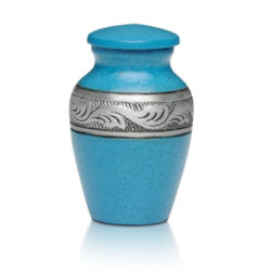 Affordable Alloy Cremation Urn in Beautiful Turquoise – Keepsake – A-1489-K-TUR-NB
