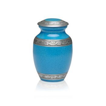Affordable Alloy Cremation Urn in Beautiful Turquoise – Small – A-1489-S-TUR