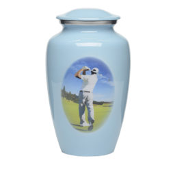 Affordable Alloy Cremation Urn in Blue with Golfer Design – Adult – A-3264-A