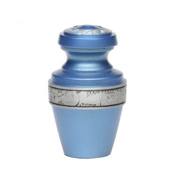 Affordable Alloy Cremation Urn in Blue with Pewter Band – Keepsake – A-2116-K-NB-BLUE