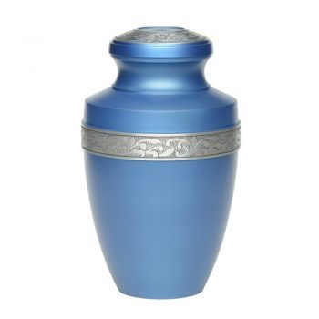 Affordable Alloy Cremation Urn in Ocean Blue with Pewter Band – Adult – A-2116-A-BLUE