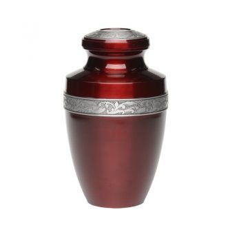 Affordable Alloy Cremation Urn in Ocean Red with Pewter Band – Adult – A-2116-A-RED