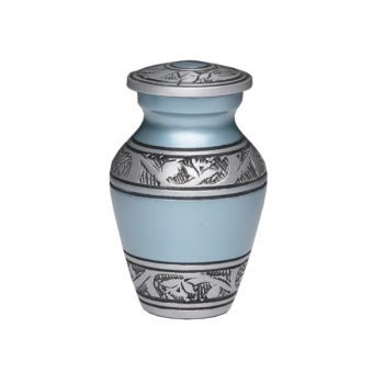Affordable Alloy Urn – Teal Color – Keepsake with Velvet Box – A-3244-K-NB