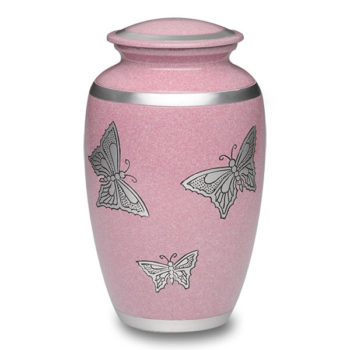 Alloy Cremation Urn in Pink with Silver Butterflies – Adult – A-2413-A