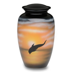Alloy Cremation Urn in with Jumping Dolphin Design – Adult – A-2421-A