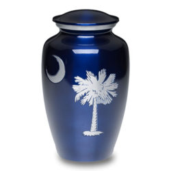 Classic Alloy Keepsake Cremation Urn South Carolina Palmetto Tree & Crescent Moon – A-1926-K-NB