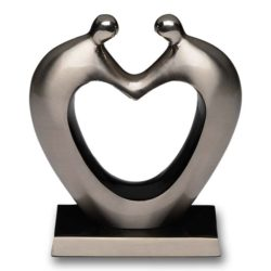 Couple Holding Hands Cremation Urn Keepsake Heart in Silver Color – B-4002