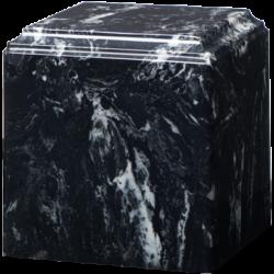 Cube Cultured Marble Urn Black Marlin - Small - CM-CUBE-BLACK-MARLIN-S
