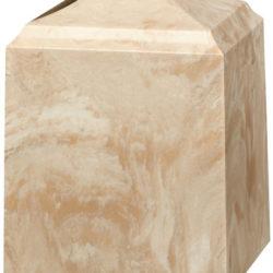 Cube Cultured Marble Urn Cream Mocha - Adult - CM-CUBE-CREAM-MOCHA-A