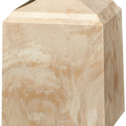 Cube Cultured Marble Urn Cream Mocha - Small - CM-CUBE-CREAM-MOCHA-S
