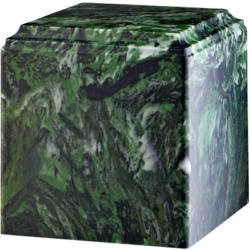 Cube Cultured Marble Urn Dark Green - Adult - CM-CUBE-DARK-GREEN-A