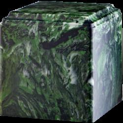 Cube Cultured Marble Urn Dark Green - Small - CM-CUBE-DARK-GREEN-S