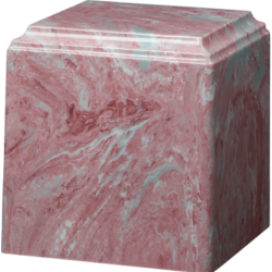 Cube Cultured Marble Urn Mauve - Adult - CM-CUBE-MAUVE-A