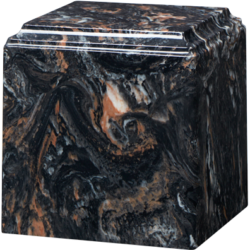 Cube Cultured Marble Urn Mission Black - Small - CM-CUBE-MISSION-BLACK-S