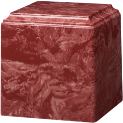 Cube Cultured Marble Urn Rouge - Small - CM-CUBE-ROUGE-S