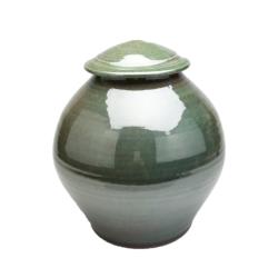 Handmade-Stoneware-Urn-Glossy-Green-Kent-Harris-KH-PG-URN-1