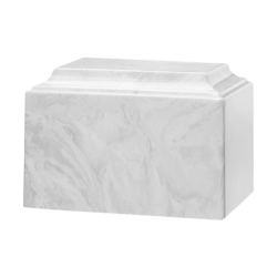Tuscany Cultured Marble Urn White Carrera - Adult - CM-T-WHITE-CARRERA-A