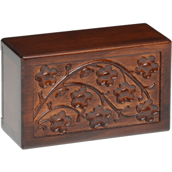 Cherry Blossom Wooden Urn Box (Extra Small Size)