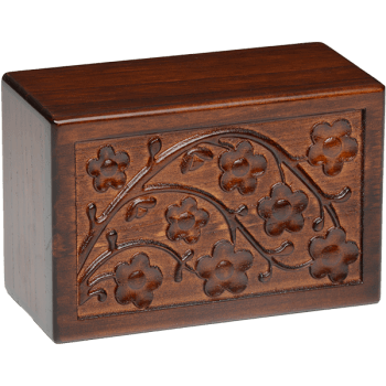 Cherry Blossom Wooden Urn Box (Small Size)
