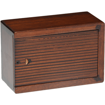 Cherry Blossom Wooden Urn Box (Small Size) Back View