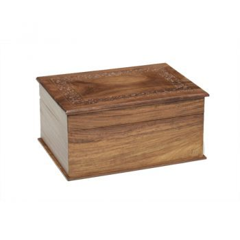 Hinged Rosewood Urn with Hand-Carved Border and Brass Inlay (Temporary Container)