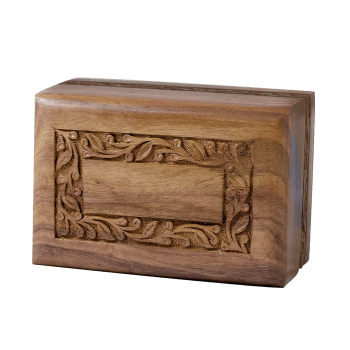 Rosewood Urn with Hand-Carved Border Medium Size)