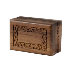 Rosewood Urn with Hand-Carved Border (Small Size)