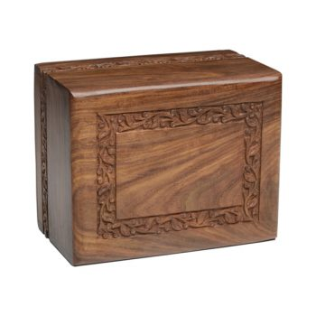 Rosewood Urn with Hand-Carved Border (Temporary Container)