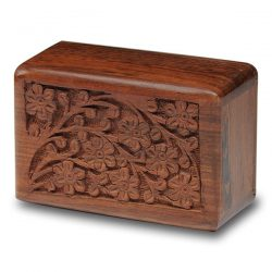 Rosewood Urn with Hand-Carved Tree of Life (Extra Small Size)