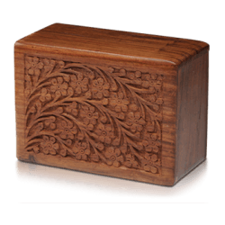 Rosewood Urn with Hand-Carved Tree of Life (Medium Size)