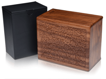 Rosewood Urn with Hand-Carved Tree of Life (Temporary Container)
