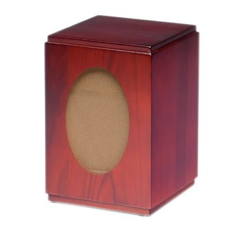 Vertical Birch Wood Cube Photo Urn with Cherry Finish – Adult