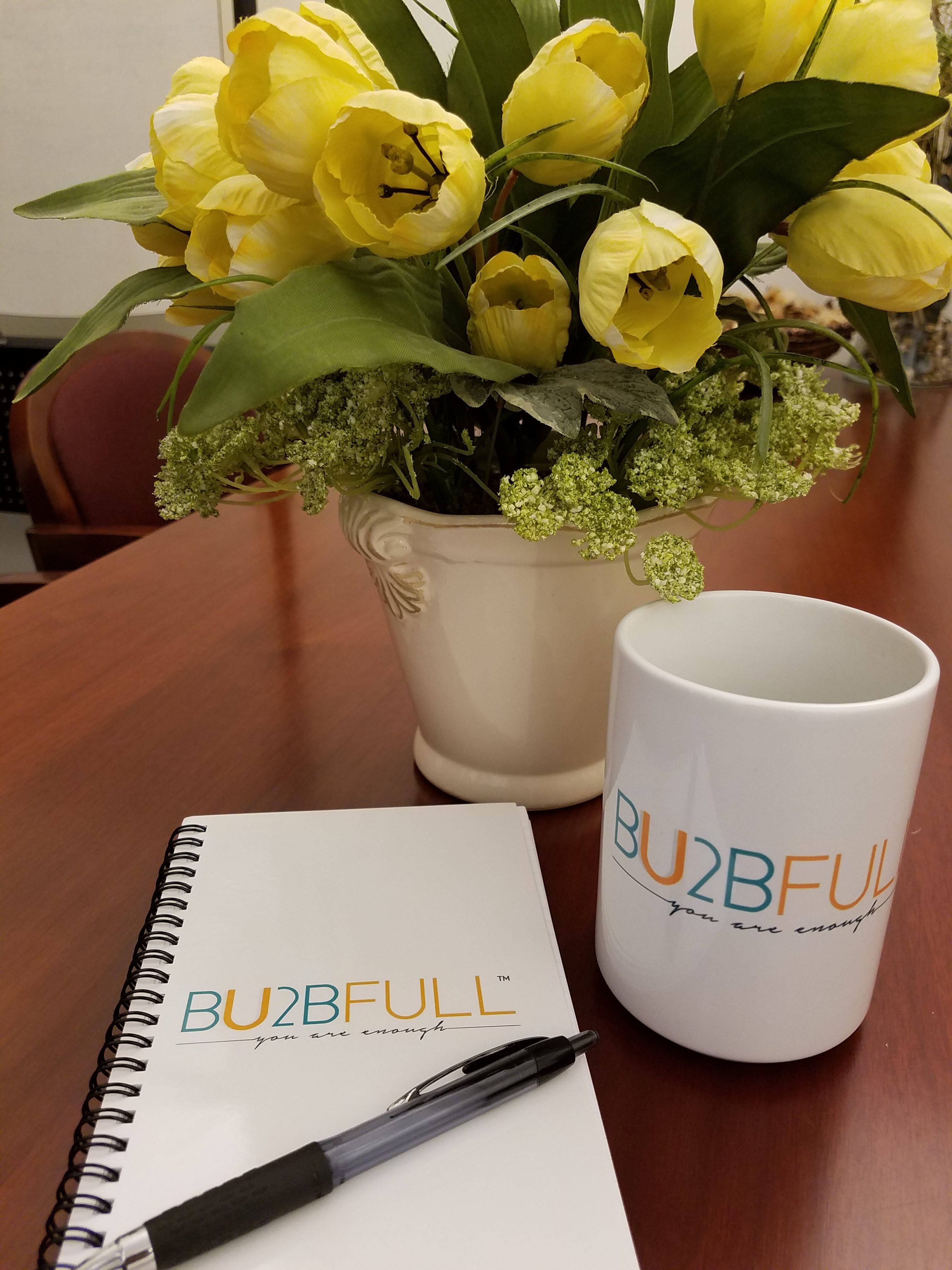large coffee mug and note pad -- what a perfect way to start your morning!
