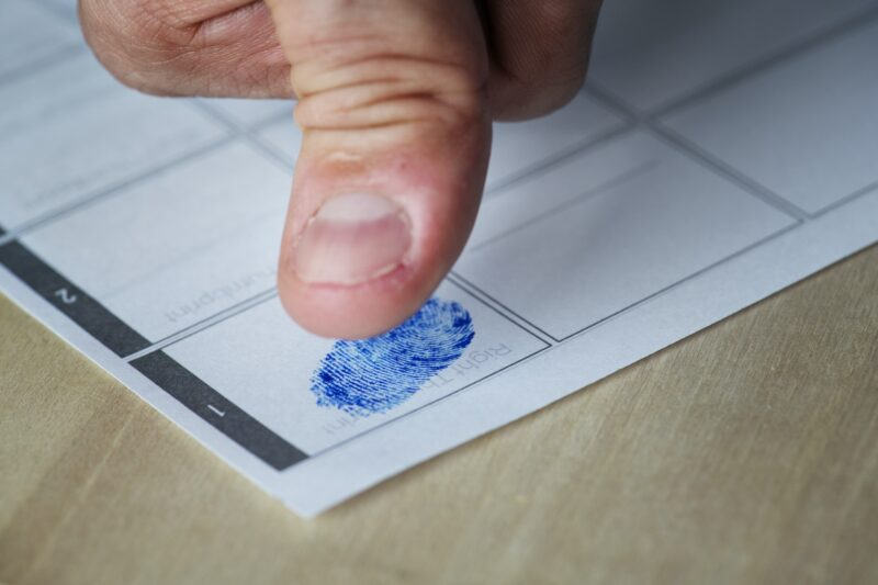 Closeup of fingerprint on paper
