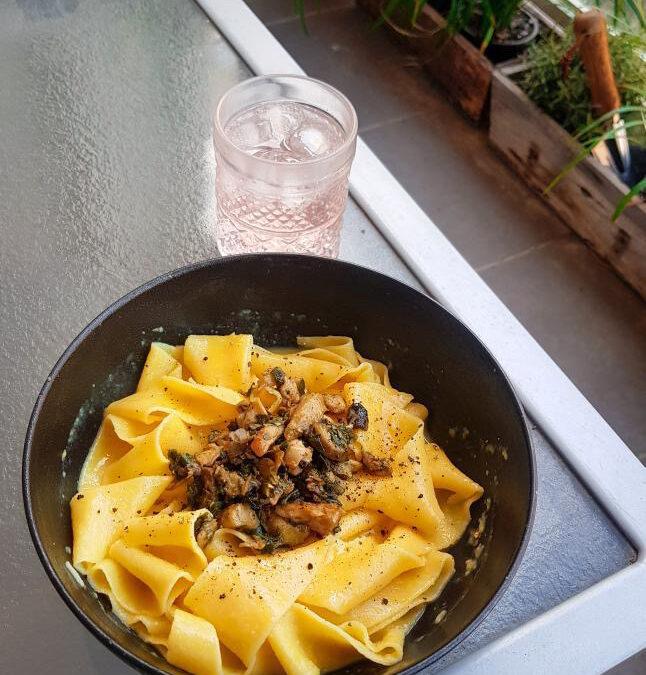 Alex's Handmade Saltbush + Mushroom Pasta