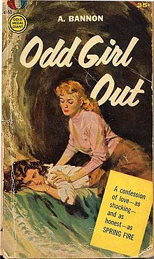 cover art for Odd Girl Out, shows a woman perched on another on her stomach