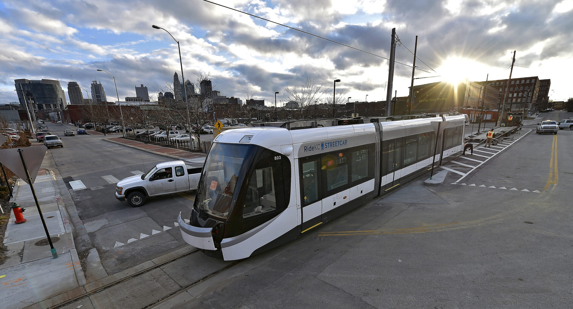 A streetcar to be delivered to Kansas City is offloaded from its trailer on Wednesday, Feb. 3, 2016, in Kansas City, Mo. The city is on schedule to begin service in April. (John Sleezer/Kansas City Star/TNS via Getty Images)