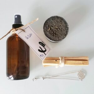 Spiritual Gift Set with charcoal lavendar soap, body spray, necklace and wooden sticks